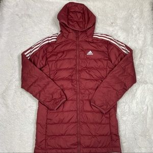 New Adidas Essentials Down Hooded Parka Jacket Red Winter GH4606